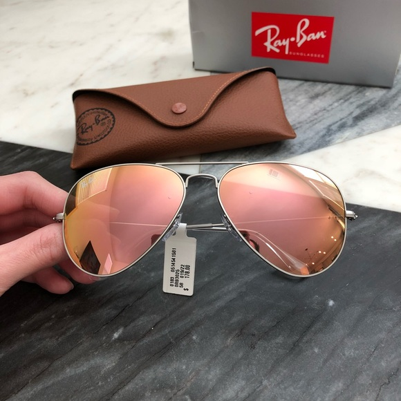 8e7ebd77afb76 NWT Women s Ray-Ban Brown Pink Aviator Sunglasses